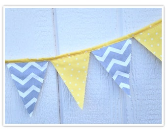 Made to order, Baby Shower Banner, Chevron Bunting, Yellow and Gray Chevron Fabric Banner, Home Decor, Nursery Decor, Flags, Bunting