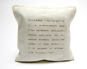 lavender sachet printed with text