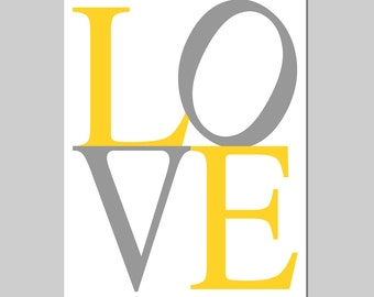 LOVE - 5x7 Typography Print - Kids Wall Art for Nursery - Choose Your Colors - Shown in Yellow, Gray and More