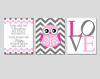 Girl Nursery Art Trio - You Are My Sunshine, Chevron Owl, Love - Set of Three 11x14 Prints - CHOOSE YOUR COLORS - Shown in Pink and Gray