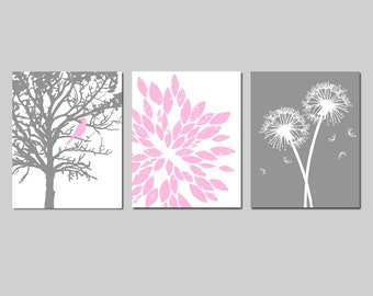 Light Pink Gray Baby Girl Nursery Art Trio - Bird in a Tree, Abstract Floral, Dandelions - Set of Three 11x14 Prints - CHOOSE YOUR COLORS