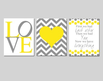 Chevron Heart Love Nursery Art Trio - First We Had Each Other Quote - Set of Three 8x10 Prints - CHOOSE YOUR COLORS