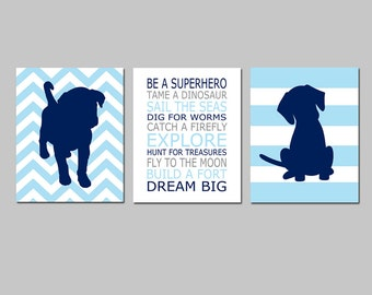 Baby Boy Nursery Art Trio - Chevron Stripe Puppy Dogs, Be a Superhero Quote - Set of Three 11x14 Prints - Choose Your Colors