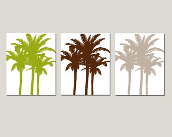 Palm Medley Tropical Art - Set of Three 8x10 Palm Tree Prints - CHOOSE YOUR COLORS - Shown in Olive Green, Brown, Red Orange and More