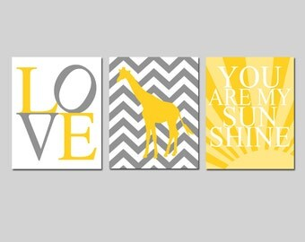 Nursery Art Trio - Set of Three 8x10 Prints - You Are My Sunshine, Love, Chevron Giraffe - CHOOSE YOUR COLORS - Shown in Yellow, Gray, White