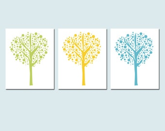 Tree Dot Trio - Set of Three 8x10 Prints - Modern Nursery Decor - Kids Wall Art - Geometric, Charming, Sweet - CHOOSE YOUR COLORS