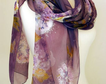 "Floral Pastel Silk-Chiffon Long Scarf - Batik Art - "" The White Hydrangea Bush"" -Stylish and Unique Gift for Mom and Mother-in-law"