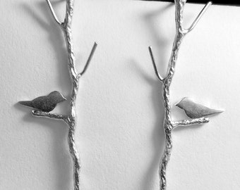 READY TO SHIP Bird on Twig Earrings Silver Sparrow Branch Lovebirds Nature