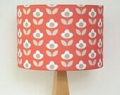 Tulip print drum lampshade - Red
