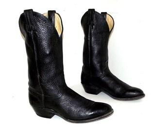 Rockin Black Leather Abilene  Cowboy Boots size 9 D or womens size 10.5