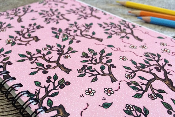 Cherry Blossom In Valentine Notebook Sketchbook - 50 bound pages recycled paper, for sketch, writing, school