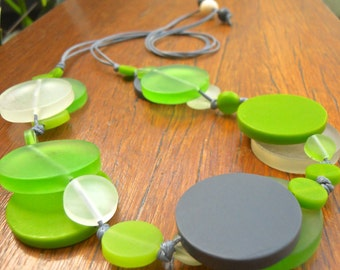 Resin bead double layer necklace in Charcoal, Lime and Clear