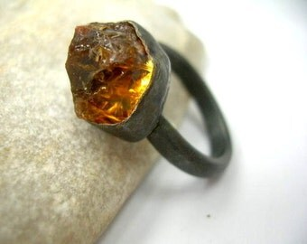 Golden brown citrine and sterling silver ring. joy and prosperity stone.
