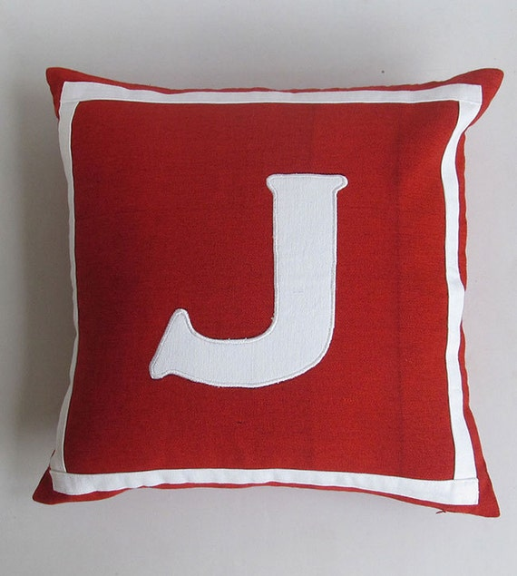 red and white 16 inch monogrammed initial pillows  CUSTOM MADE