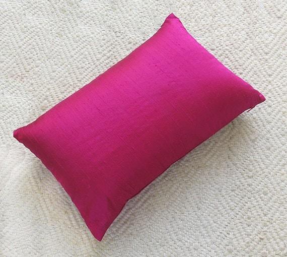 fuschia pink dupioni silk pillow cover. Throw pillow lumber