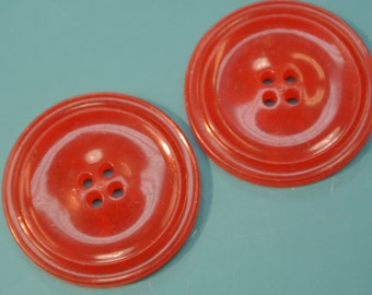 Lot of 4 larger vintage 1950s unused clear red plastic buttons for your sewing prodjects