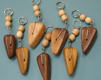 Lot of 7 hard-to-find handmade vintage 1970s unused triangular organic african wood charms/pendants w metal loops for your jewelry prodjects