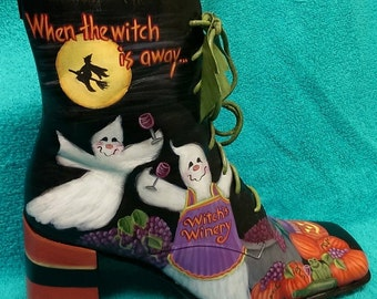 MADE TO ORDER: Hand Painted Halloween Witch's Winery Boot (1) Decoration