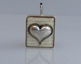 Heart (silver): Wooden Scrabble tile pendant charm.