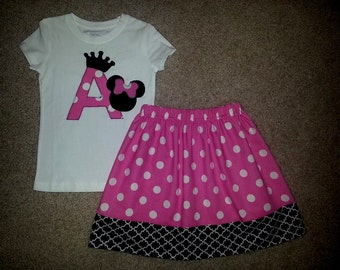 Disney World Crown Tiara Birthday Minnie Mouse Initial Skirt Outfit Size 12M 18m 24m 2 3 4 5 6 7 8 9 10