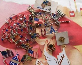 Repurpose Rhinestone Patriotic Red White Blue Flag LOT mixed media destash bridal wedding collage