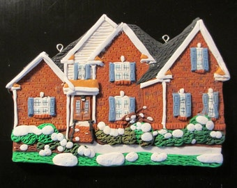 Custom Home Ornament with Snow - Hand Sculpted - Architectural and Landscape Detail
