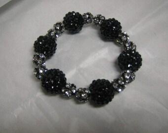 Basketball Wives Inspired Black and Silver Sparkle/Bling  Strech Bracelet