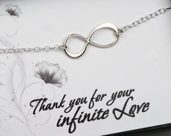 Infinity Necklace in Sterling Silver - Necklace with a Message Card - Thank you for your infinite love