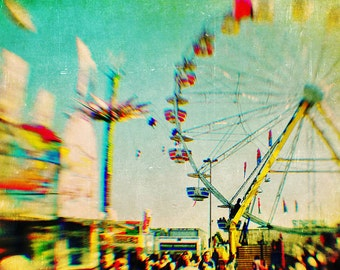 BUY 2 GET 1 FREE Carnival Photography, Sweet, fpoe, Nursery Photography, Pastels, Girls Room, Wall Decor, Ferris Wheel - Rainbow Carnival
