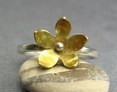 Nature Lover Sterling Silver and Brass Stacking Ring - Brass Flower Ring - Ready To Ship Ring Size 8
