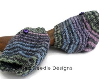 Spa Socks - Hand Knit Multi-Color Striped Heel Socks - Spa Socks with Purple Heart Button - Exercise Socks - Yoga Socks