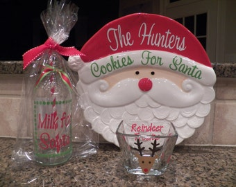 Personalized Cookies for Santa Plate Milk & Reindeer