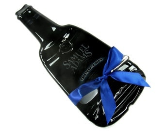 Sam Adams Beer Melted Bottle Cheese Tray - Large Size Samuel Adams Beer Bottle, Kiln FIred Serving Dish