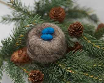 Needle Felted Nest With Eggs Wool Soft Sculpture