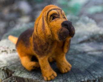 Felted Dog Bloodhound Sculpture Wool