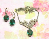 Juliet Emerald Green Vintage Swarovski Rhinestone Necklace n Earring Set Estate Inspired Art Deco