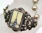 Treasured Find Mixed Media Paris Bracelet Altered Art Pearls French Flea Market OOAK