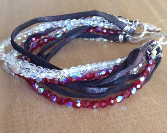 Hot Red and Shimmery Czech Glass Bead and Leather Multi-strand Bracelet, Free Shipping