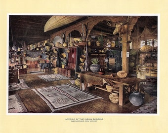 1927 Print of the interior of the Indian Building, Albuquerque, New Mexico FREE U.S. SHIPPING