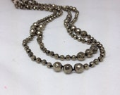 Long Faceted Pyrite Knotted Necklace