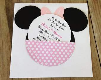 Handmade Custom Light Pink Minnie Mouse Birthday Invitations- Set of 10