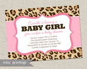 Pink Leopard Baby Shower Invitation - africa animal pattern - pink baby girl shower invite (Printable Digital File OR Printed Cards)