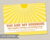 Sunshine Birthday Party Invitation - You Are My Sunshine - Sun Invite (Printable Digital File)