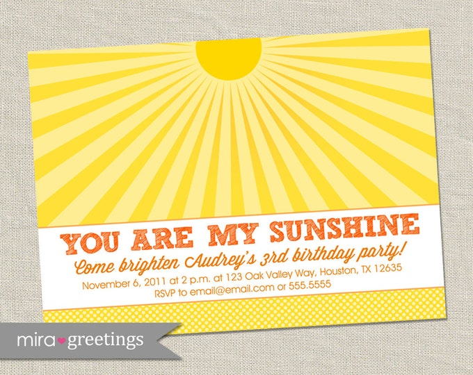 Sunshine Birthday Party Invitation - Printable Digital File