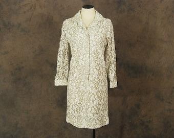 Clearance Sale vintage 60s Dress - 1960s White Lace Shift Dress  Mini Shirt Dress Sz M