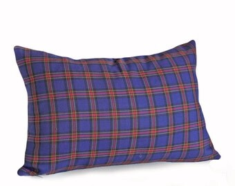 Vibrant Blue Plaid Pillow, Plaid Lumbar Pillow, Tartan Cushion Cover, Punk Plaid Pillow for Kids or Teens Dorm Decor, 12x18