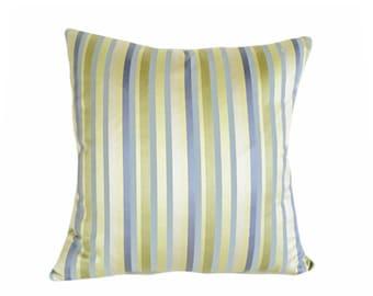 Blue Green Striped Pillows, Pastel Throw Pillow, Blue Green Striped Cushion Covers, Pale Blue Green Yellow Pillows, 18, 20, 22, 24 26, SALE