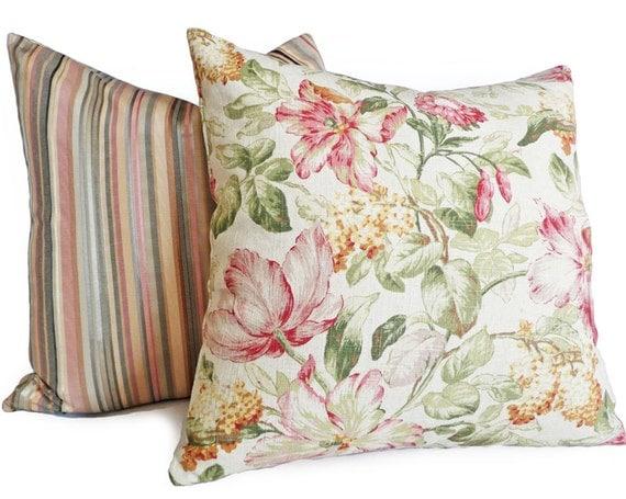 Floral Pillows Cream Decorative Throw Pillow by PillowThrowDecor