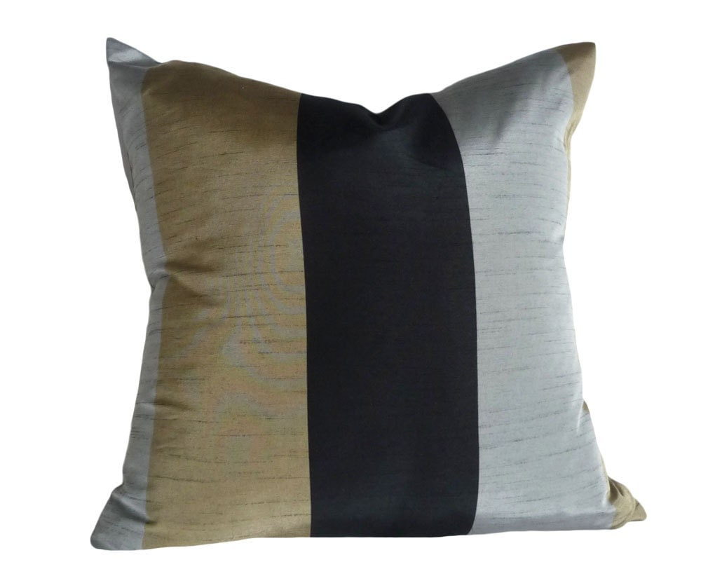 Metallic Striped Pillows Decorative Pillow Black Gold Silver