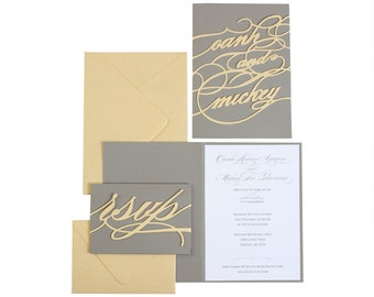 Sample Monogram Invitation - shimmer gold, charcoal gray, bride, groom, names, personalized, logo, initials, monogrammed, elegant, classic